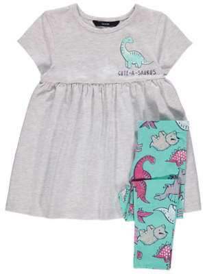 George Grey Dinosaur Dress and Leggings Outfit