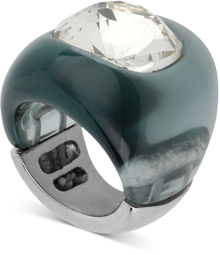 Kenneth Cole New York Ring, Silver-Tone Crystal Blue Stretch Ring