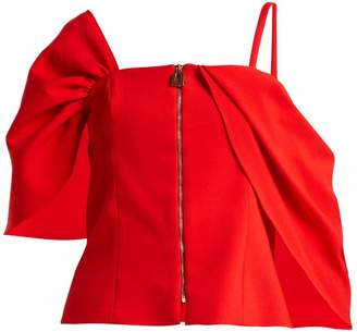 Osman Candide Draped Sleeve Top - Womens - Red