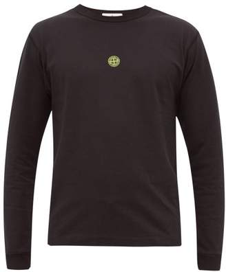 Stone Island Airbrush Logo Cotton T Shirt - Mens - Black