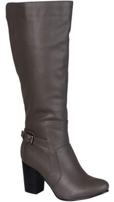 Brinley Co. Wide Calf Buckle Detail High Heeled Boots