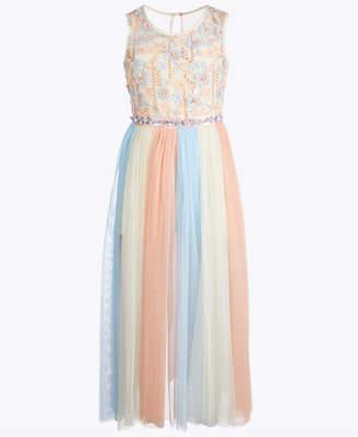 Bonnie Jean Big Girls Rainbow Maxi-Overlay Romper Dress