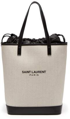 Saint Laurent Teddy Drawstring Canvas Tote - Womens - Black White