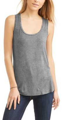 American High Women's Scoop neck Burnout Muscle Tank Top with Raw Hem