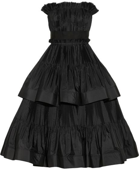 Lanvin Tiered pleated taffeta dress