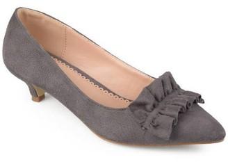 Brinley Co. Womens Faux Suede Ruffle Kitten Heels