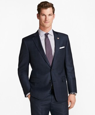 Brooks Brothers Regent Fit Saxxon Wool Tic with Windowpane 1818 Suit