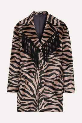 BLAZÉ MILANO Foxy Lady Hunny Fringed Animal-print Felt Coat - Zebra print