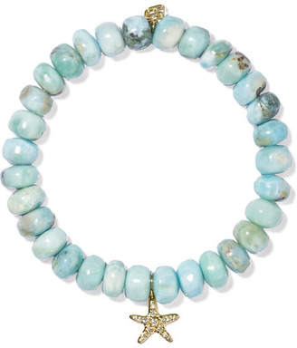 Sydney Evan Starfish Larimar, Diamond And 14-karat Gold Bracelet