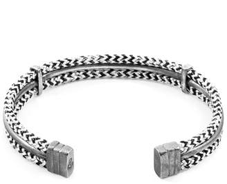 ANCHOR & CREW - White Noir Aire Silver & Rope Bangle