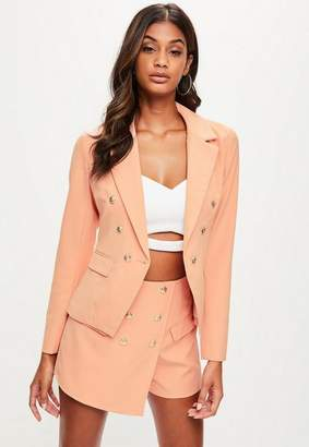 Missguided Peach Military Tailored Blazer, Beige