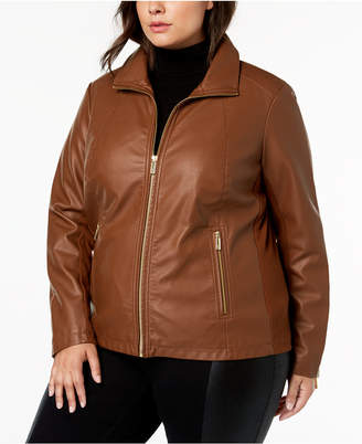 903f30b5a07 Kenneth Cole Plus Size Mixed-Media Moto Jacket