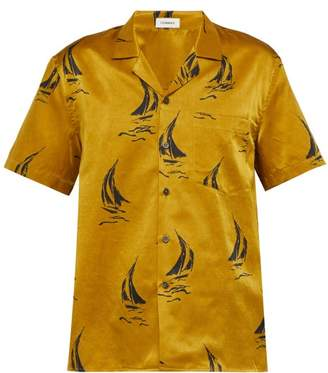 COMMAS Silk Blend Printed Shirt - Mens - Yellow