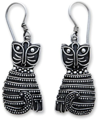 """Novica Artisan-Crafted Sterling """"Indonesian Cat"""" Earrings"""