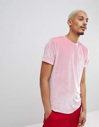 Asos Design Longline T-Shirt With Curved Hem In Pink Velour