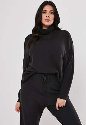 Missguided Plus Size Grey Co Ord Funnel Neck Oversized Knitted Jumper
