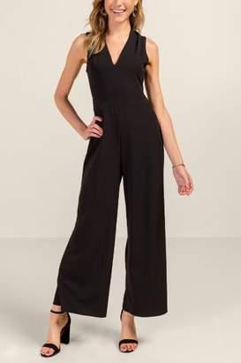 francesca's Gianna Criss Cross Back Jumpsuit - Black