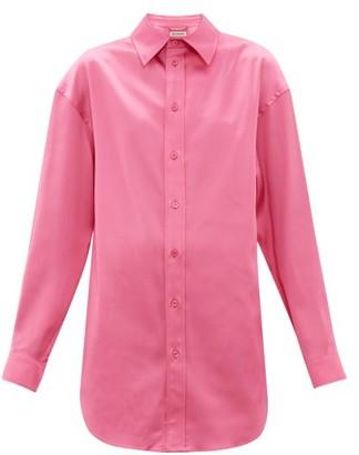 Balenciaga Longline Satin Shirt - Womens - Pink