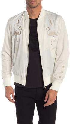Diesel Front Embroidered Satin Bomber Jacket