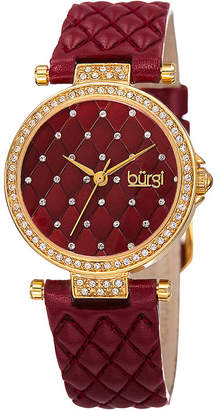 Burgi brgi Womens Quilted-Look Burgundy Leather Strap Watch