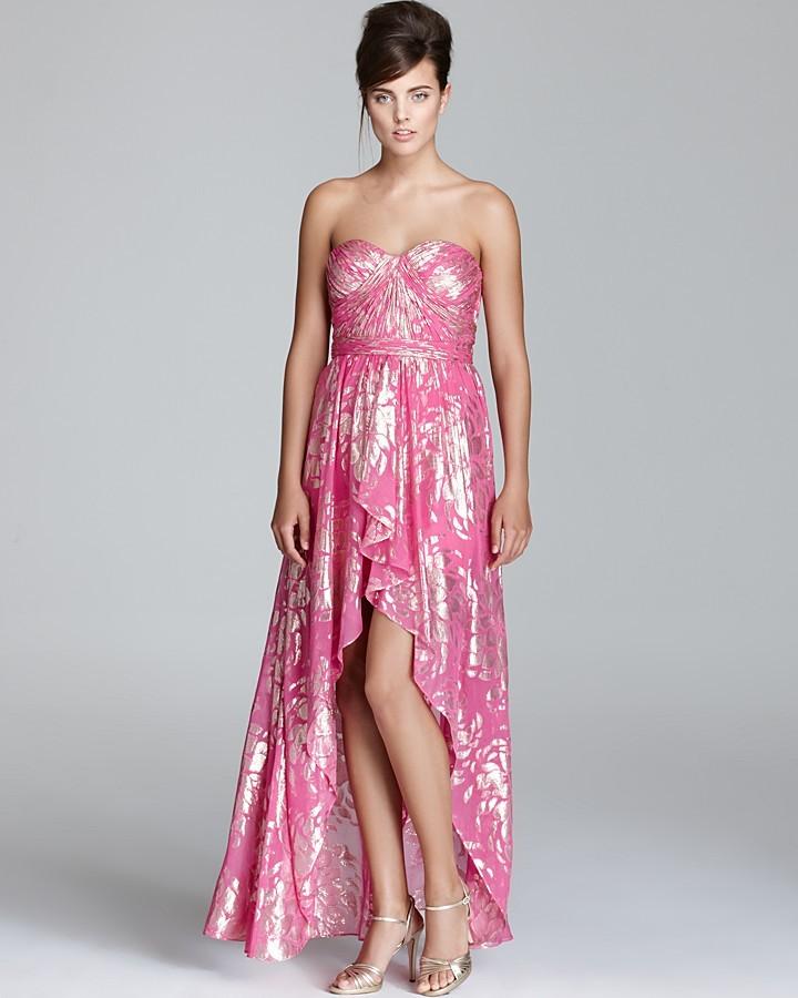 Aqua Strapless Gown - High Low Foil