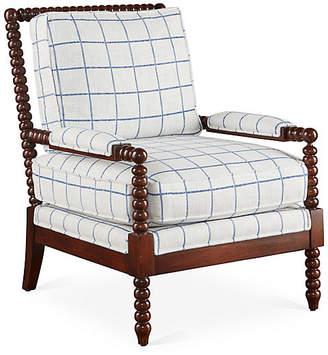 Bankwood Accent Chair - Light Blue Plaid - Miles Talbott