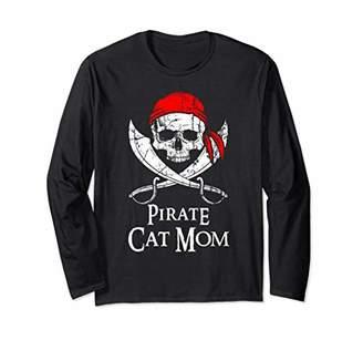 Pirate Cat Mom Family Jolly Roger Skull Long Sleeve Shirt