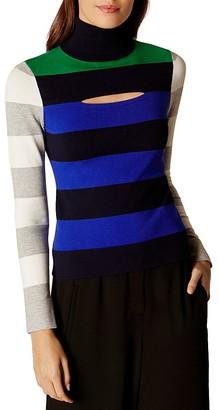 KAREN MILLEN Color-Block Striped Turtleneck Sweater $160 thestylecure.com