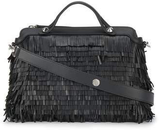 Fendi Black By The Way fringed leather Boston bag