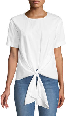 J.o.a. Extended-Sleeve Tie-Front Tee