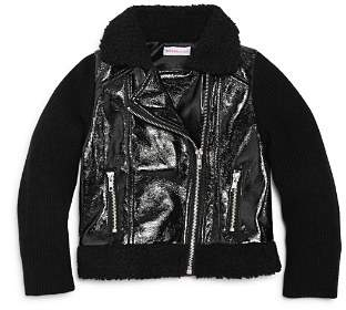 Design History Girls' Contrast Knit Faux-Leather Jacket with Sherpa Trim - Little Kid, Big Kid