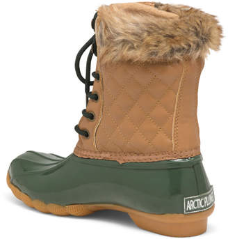 Faux Fur Trim Quilted Duck Boots