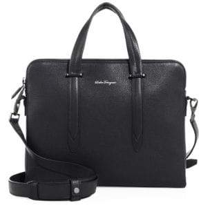 Salvatore Ferragamo Men's Leather Messenger Bag - Black