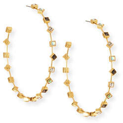 BaubleBar Elise Crystal Hoop Earrings