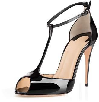 Eldof Womens High Heel Sandals| Peep Toe T-Strap 10cm Pumps | Ankle Buckle Wedding Dress Shoes Patent US8