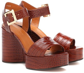 Clergerie Altesse leather wedge sandals