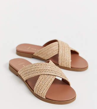 New Look Wide Fit wide fit woven cross strap flat sandal in camel