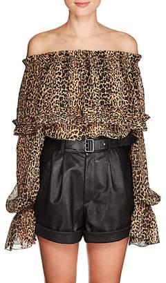 Saint Laurent Women's Leopard-Print Silk Off-The-Shoulder Blouse