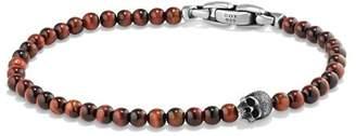 David Yurman Spiritual Beads Skull Bracelet with Red Tiger's Eye in Sterling Silver