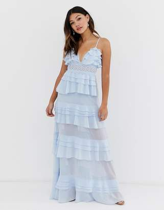 021b749410d True Decadence premium frill layered cami maxi dress with lace insert in  soft blue