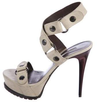Vera Wang Lavender Label Leather Ankle Strap Sandals