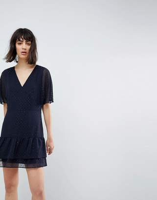 AllSaints Marley Flippy Dress with Glitter Spot Detail