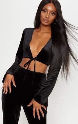 PrettyLittleThing Black Velvet Tie Front Blouson Crop Top