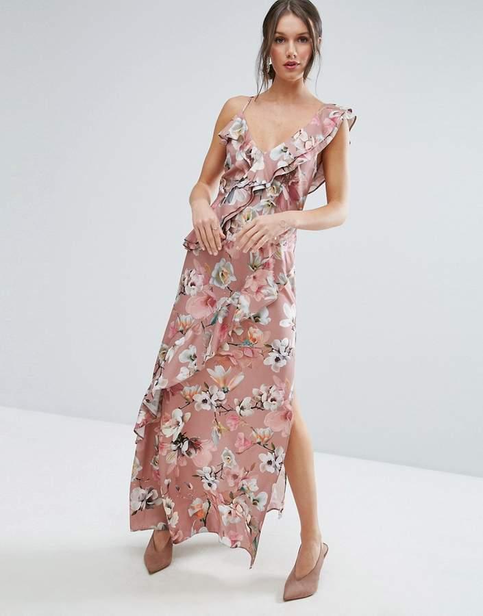 AsosASOS Dusky Floral Ruffle Cami Maxi Dress