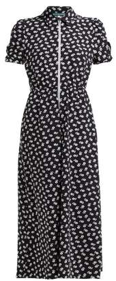 ALEXACHUNG Zip Through Floral Print Crepe Dress - Womens - Black White