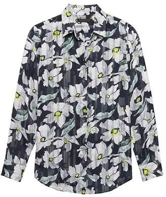 Banana Republic Dillon Classic-Fit Sheer Floral Stripe Shirt