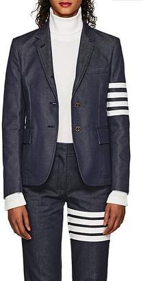 Thom Browne WOMEN'S BLOCK-STRIPED DENIM THREE-BUTTON BLAZER