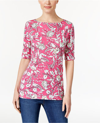 Karen Scott Elbow-Sleeve Printed Boatneck Top, Only at Macy's $29.50 thestylecure.com