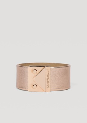 Emporio Armani Bracelet In Metallized Leather And Stainless Steel