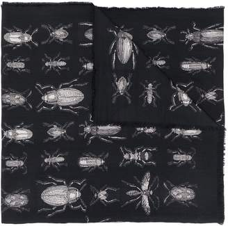 Alexander McQueen insect frayed-edge scarf